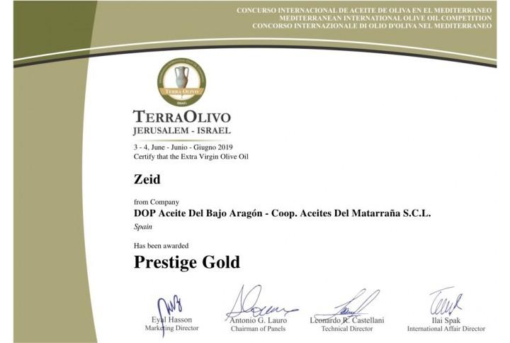 Premiados con el Premio Terraolivo Presige Gold 2019